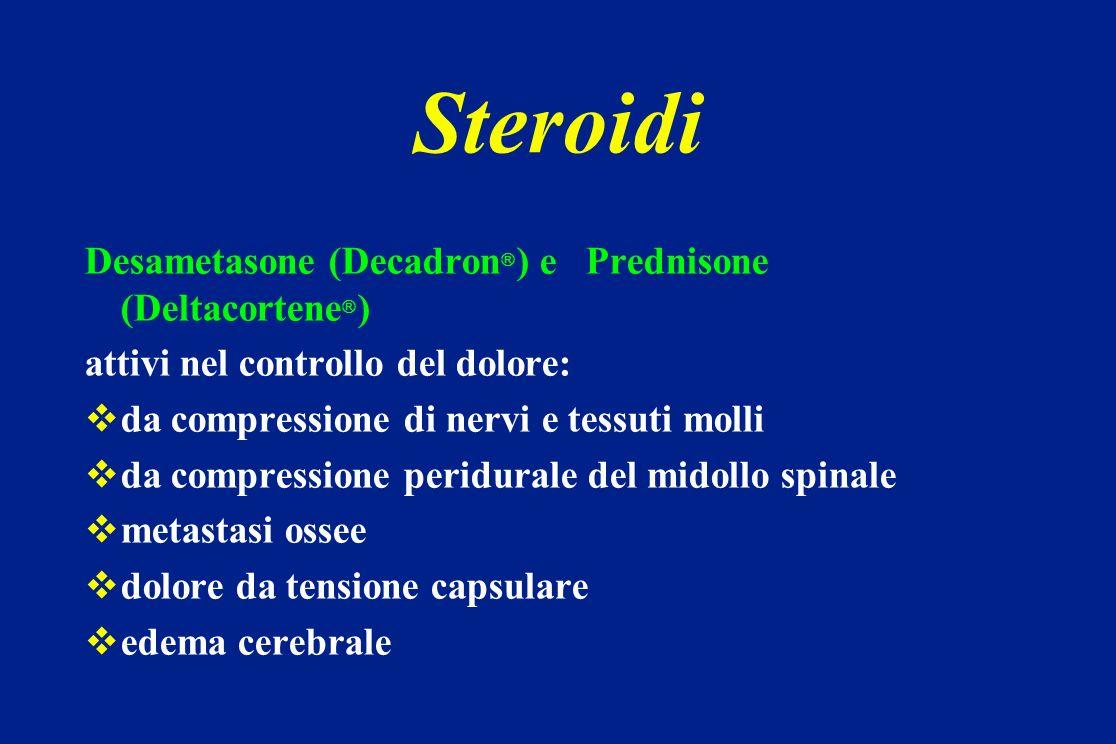 Steroidi Desametasone (Decadron ) e Prednisone (Deltacortene ) attivi nel controllo del dolore: da compressione di nervi e tessuti molli da compressio
