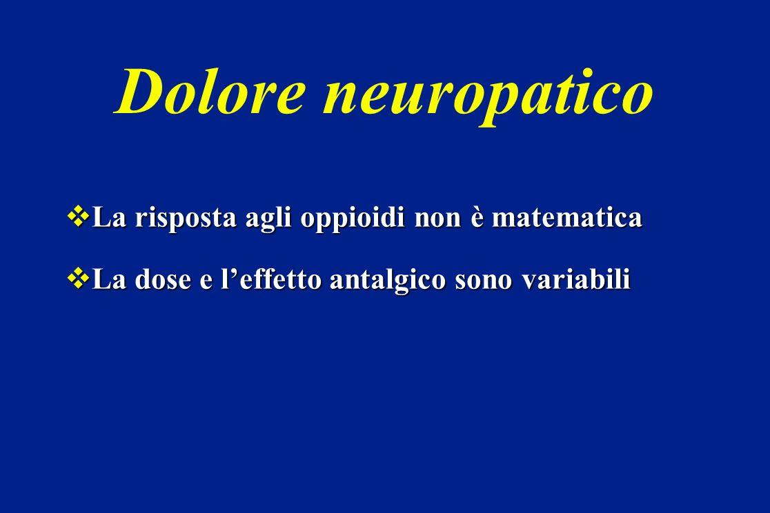 Dolore neuropatico La risposta agli oppioidi non è matematica La risposta agli oppioidi non è matematica La dose e leffetto antalgico sono variabili L