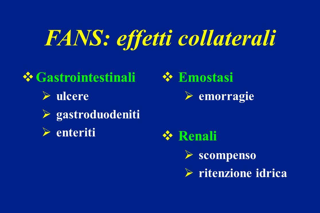 Gastrointestinali ulcere gastroduodeniti enteriti Emostasi emorragie Renali scompenso ritenzione idrica FANS: effetti collaterali
