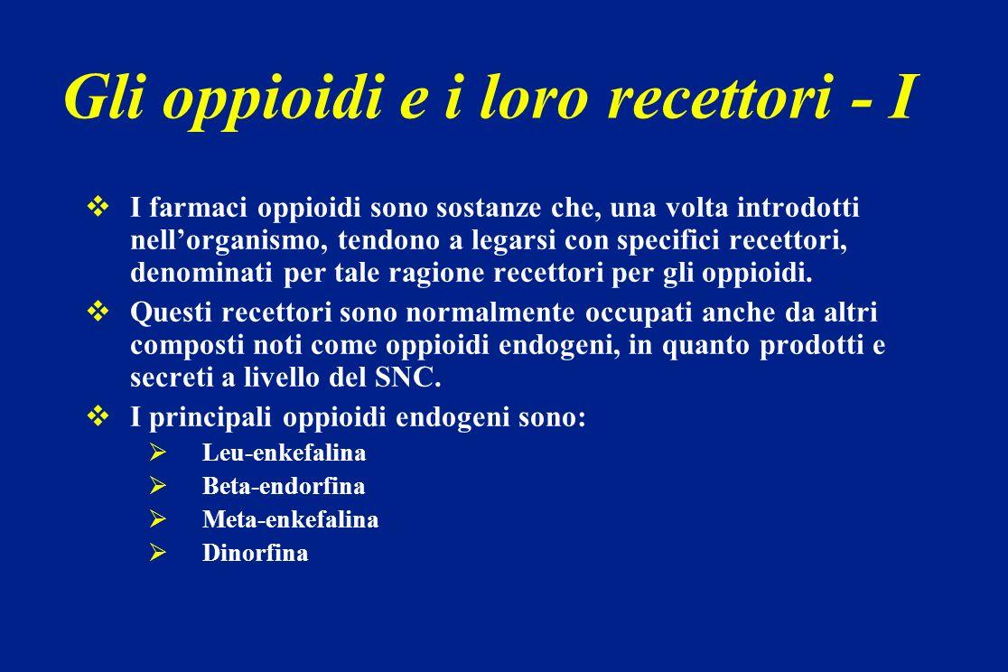 Il catabolismo è interamente epatico e non dà luogo a metaboliti attivi Lelevata lipofilia garantisce la cessione del farmaco attraverso la cute da parte di un sistema esterno Vie di somministrazione: im, epidurale, spinale, transdermica e transmucosale No somministrazione per os: clearance epatica al primo passaggio è pari al 70 % Fentanyl - 2