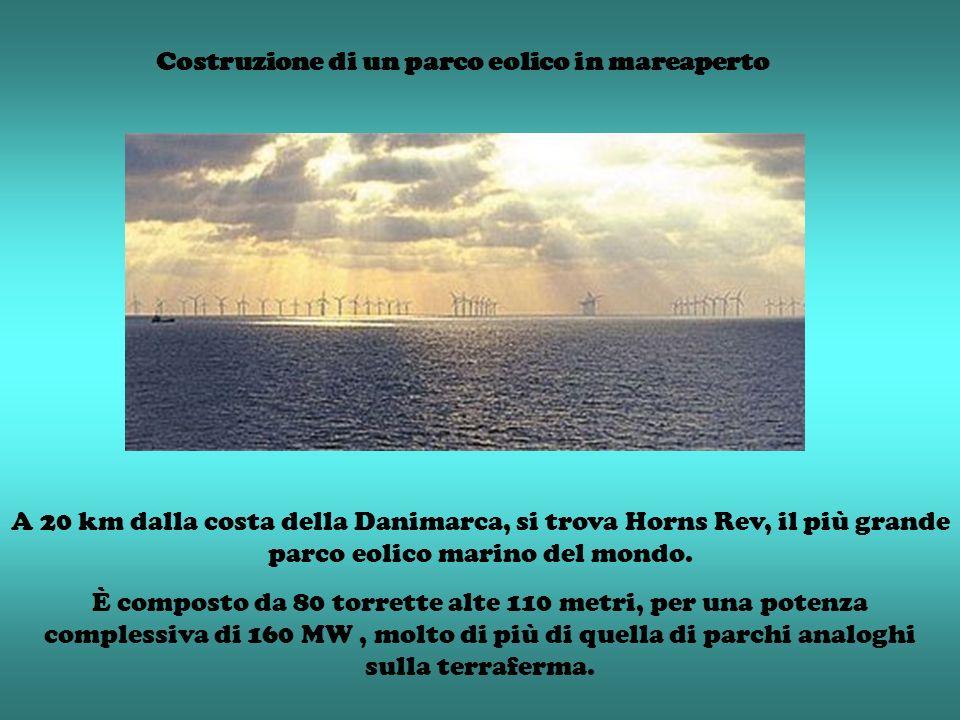 Costruzione di un parco eolico in mareaperto A 20 km dalla costa della Danimarca, si trova Horns Rev, il più grande parco eolico marino del mondo. È c