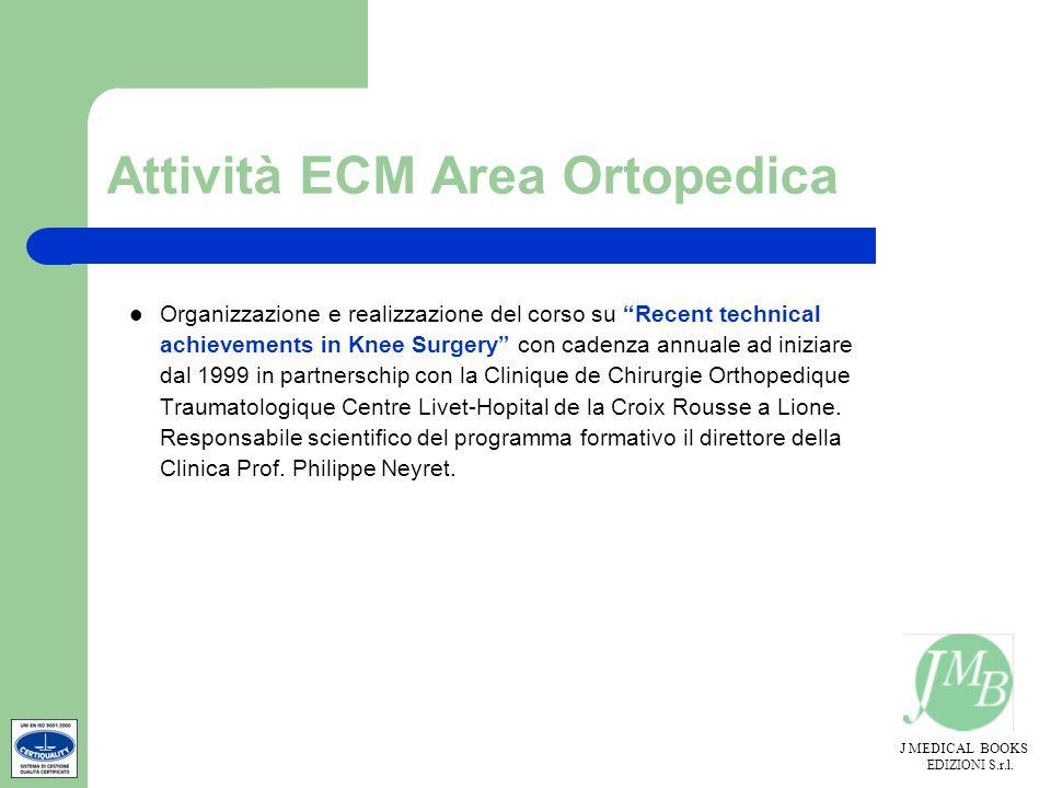 J MEDICAL BOOKS EDIZIONI S.r.l. Attività ECM Area Ortopedica Organizzazione e realizzazione del corso su Recent technical achievements in Knee Surgery