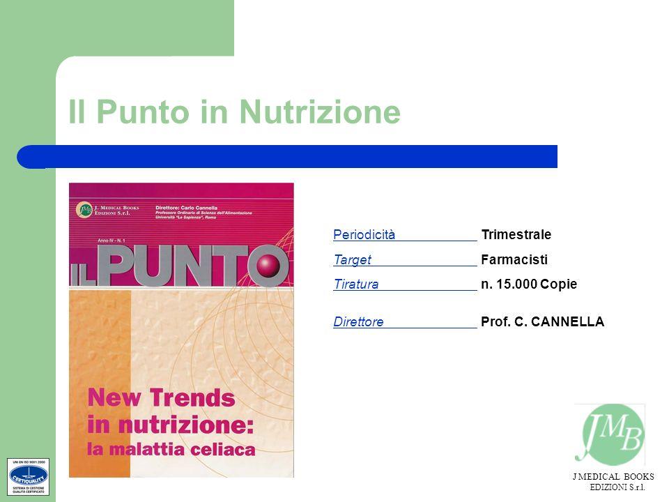 J MEDICAL BOOKS EDIZIONI S.r.l. Il Punto in Nutrizione Periodicità Trimestrale Target Farmacisti Tiratura n. 15.000 Copie Direttore Prof. C. CANNELLA