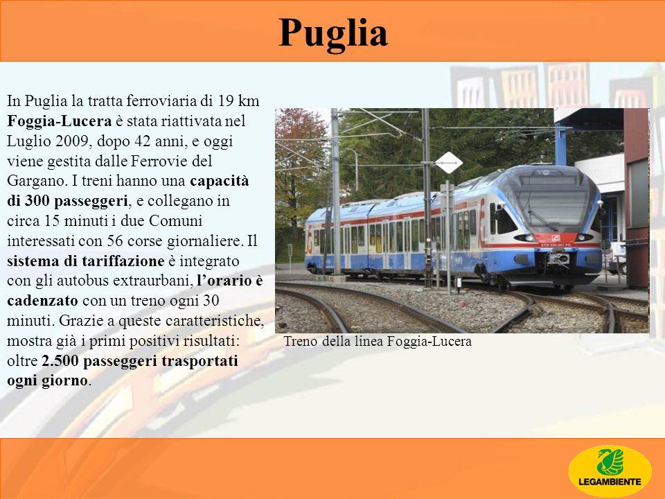 Treno della linea Foggia-Lucera Puglia In Puglia la tratta ferroviaria di 19 km Foggia-Lucera è stata riattivata nel Luglio 2009, dopo 42 anni, e oggi
