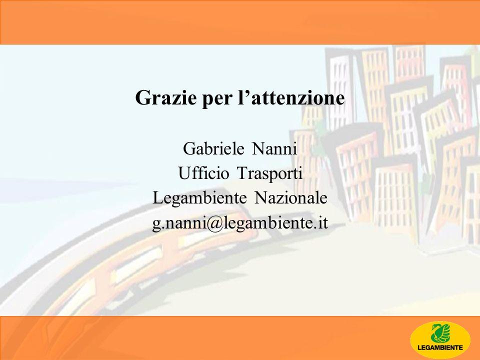 Grazie per lattenzione Gabriele Nanni Ufficio Trasporti Legambiente Nazionale g.nanni@legambiente.it