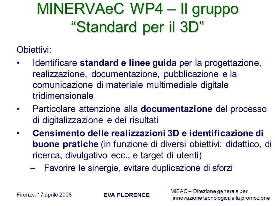 MiBAC – Direzione generale per linnovazione tecnologica e la promozione Firenze, 17 aprile 2008 EVA FLORENCE MINERVAeC WP4 – Il gruppo Standard per il