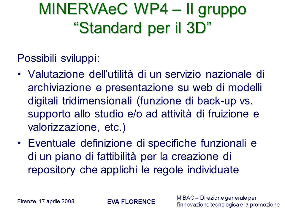 MiBAC – Direzione generale per linnovazione tecnologica e la promozione Firenze, 17 aprile 2008 EVA FLORENCE Possibili sviluppi: Valutazione dellutili