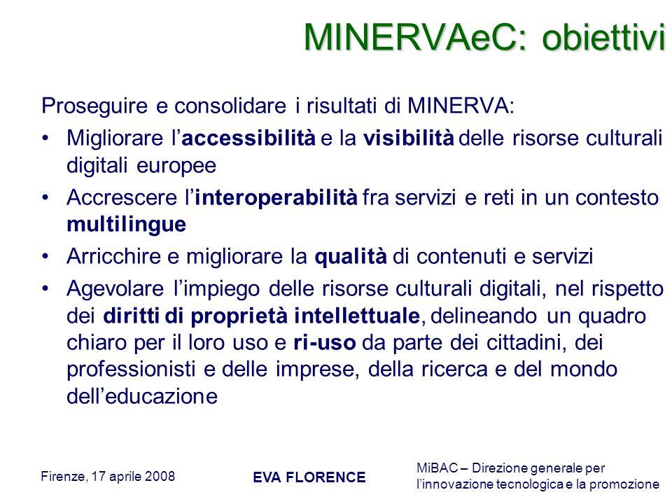 MiBAC – Direzione generale per linnovazione tecnologica e la promozione Firenze, 17 aprile 2008 EVA FLORENCE MINERVAeC: obiettivi Proseguire e consoli