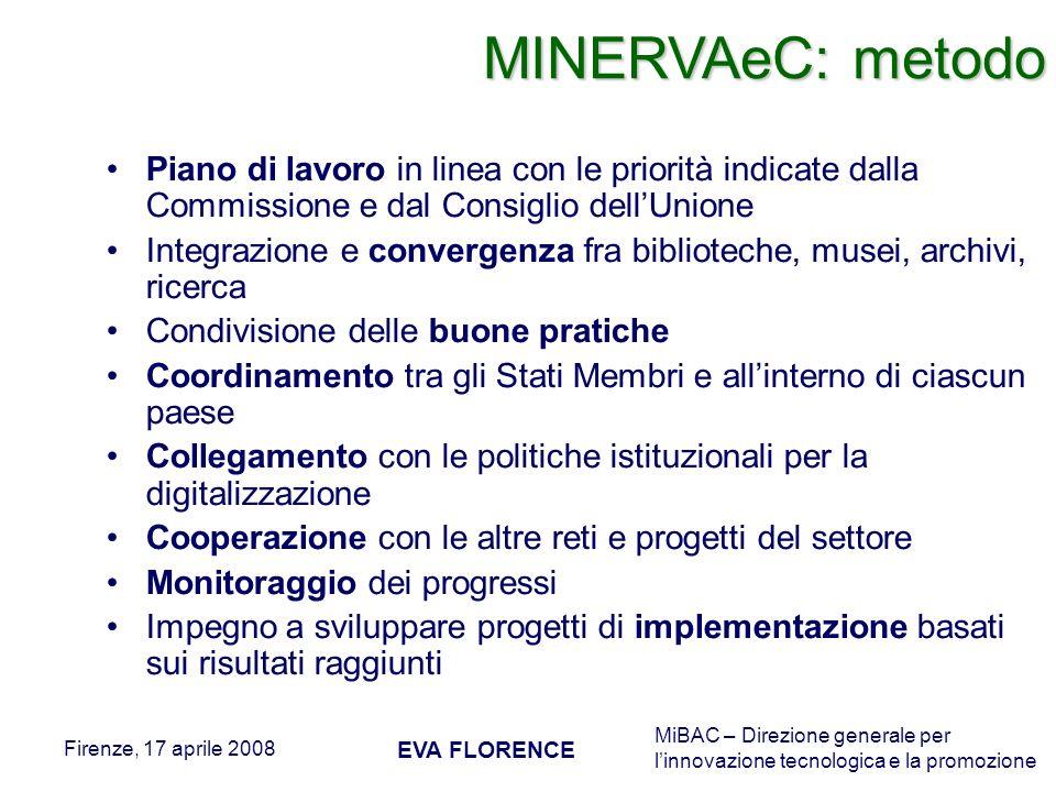 MiBAC – Direzione generale per linnovazione tecnologica e la promozione Firenze, 17 aprile 2008 EVA FLORENCE Piano di lavoro in linea con le priorità