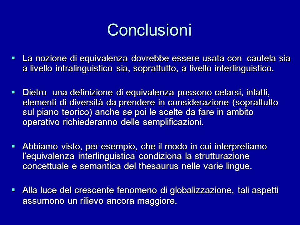 Conclusioni La nozione di equivalenza dovrebbe essere usata con cautela sia a livello intralinguistico sia, soprattutto, a livello interlinguistico. L