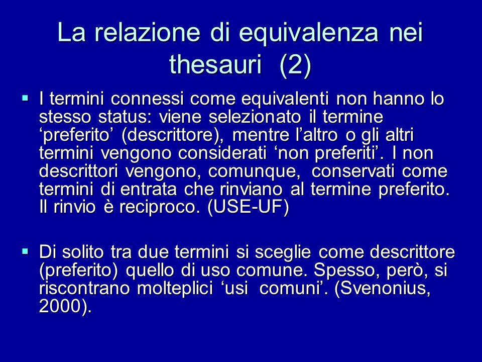 La relazione di equivalenza nei thesauri (2) I termini connessi come equivalenti non hanno lo stesso status: viene selezionato il termine preferito (d