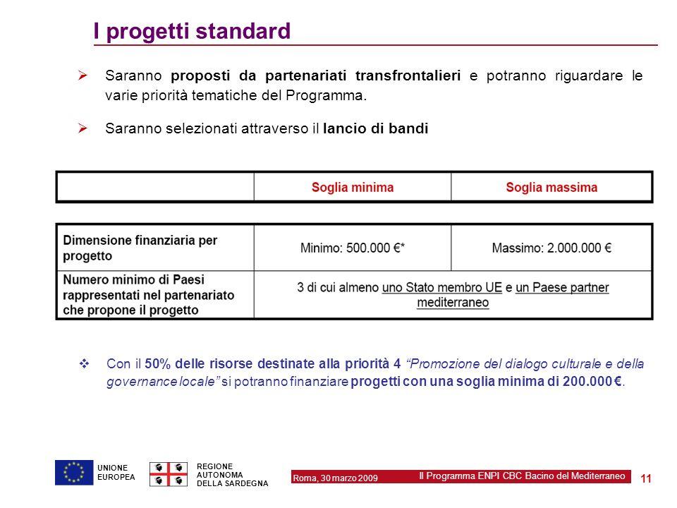 Roma, 30 marzo 2009 Il Programma ENPI CBC Bacino del Mediterraneo REGIONE AUTONOMA DELLA SARDEGNA 11 UNIONE EUROPEA I progetti standard Saranno propos