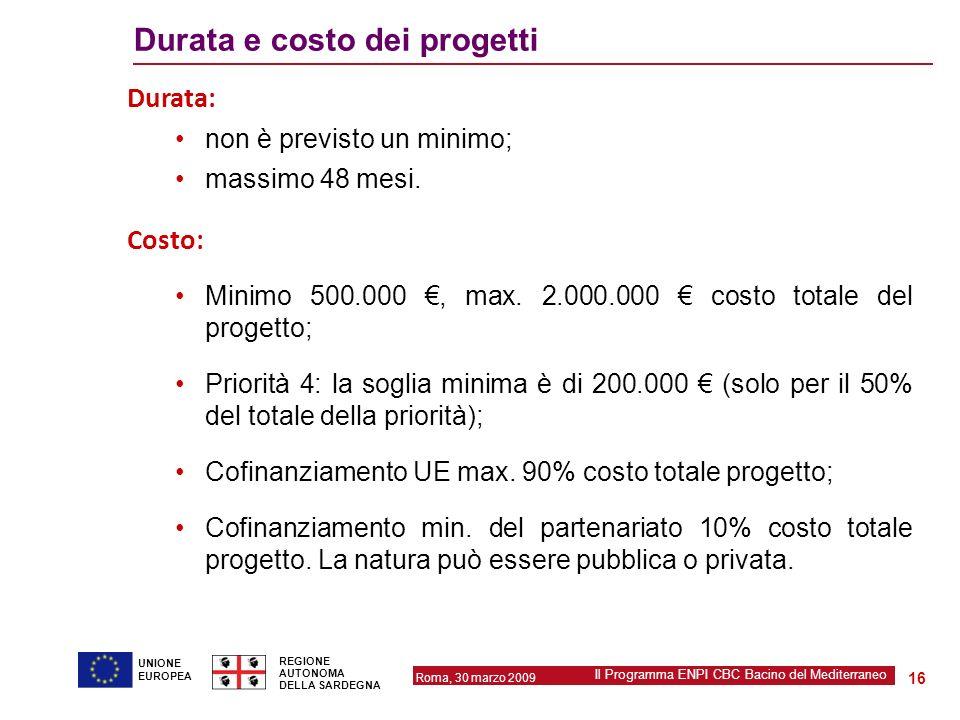 Roma, 30 marzo 2009 Il Programma ENPI CBC Bacino del Mediterraneo REGIONE AUTONOMA DELLA SARDEGNA 16 UNIONE EUROPEA Durata e costo dei progetti Durata