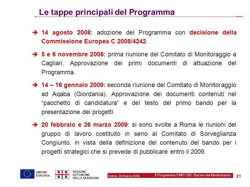 Roma, 30 marzo 2009 Il Programma ENPI CBC Bacino del Mediterraneo REGIONE AUTONOMA DELLA SARDEGNA 21 UNIONE EUROPEA Le tappe principali del Programma