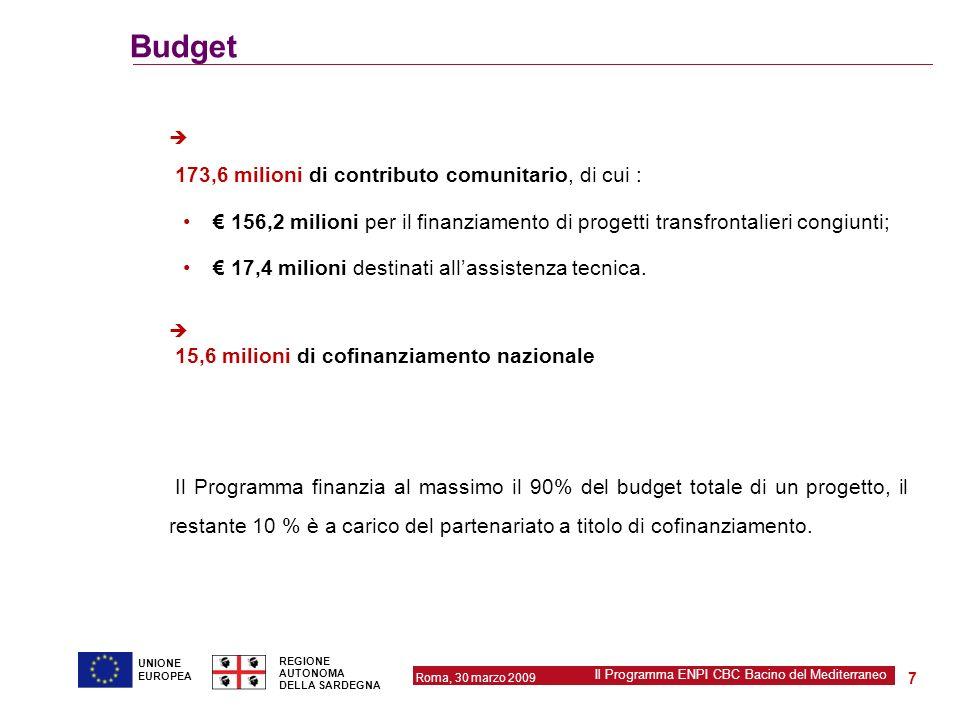 Roma, 30 marzo 2009 Il Programma ENPI CBC Bacino del Mediterraneo REGIONE AUTONOMA DELLA SARDEGNA 7 UNIONE EUROPEA Budget 173,6 milioni di contributo