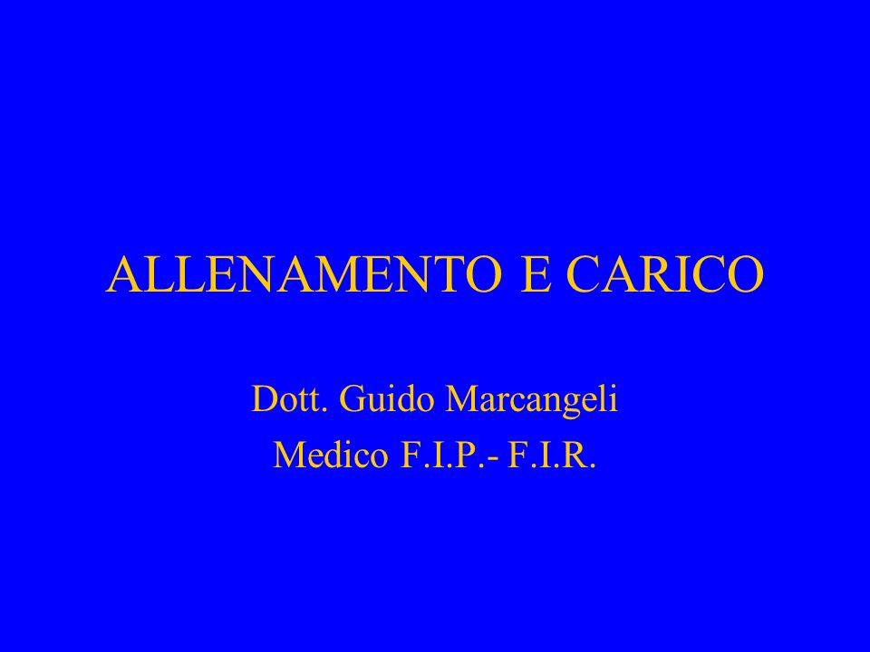ALLENAMENTO E CARICO Dott. Guido Marcangeli Medico F.I.P.- F.I.R.