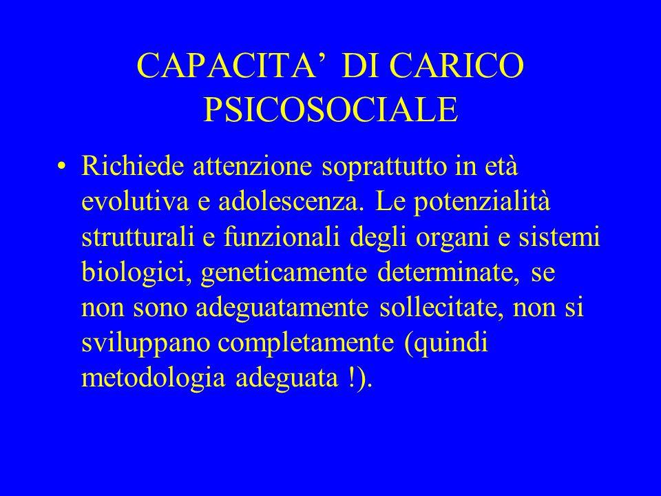CAPACITA DI CARICO PSICOSOCIALE Richiede attenzione soprattutto in età evolutiva e adolescenza. Le potenzialità strutturali e funzionali degli organi