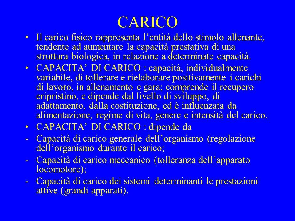 CARICO Il carico fisico rappresenta lentità dello stimolo allenante, tendente ad aumentare la capacità prestativa di una struttura biologica, in relaz