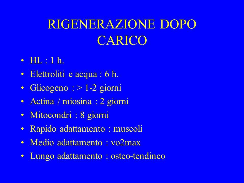 RIGENERAZIONE DOPO CARICO HL : 1 h. Elettroliti e acqua : 6 h. Glicogeno : > 1-2 giorni Actina / miosina : 2 giorni Mitocondri : 8 giorni Rapido adatt