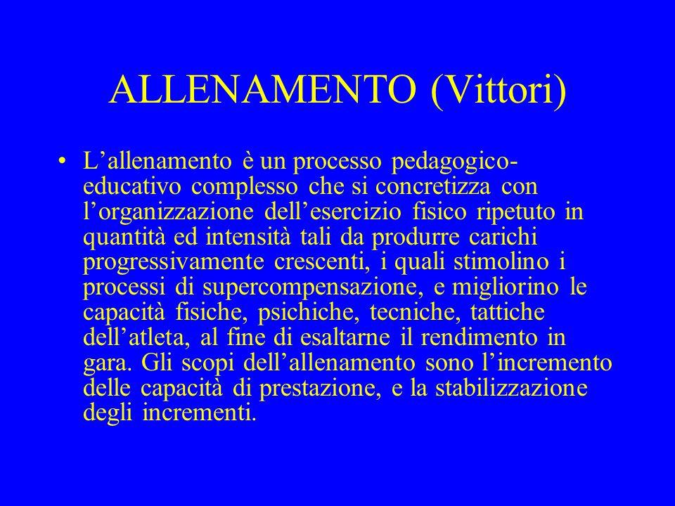 ALLENAMENTO (Vittori) Lallenamento è un processo pedagogico- educativo complesso che si concretizza con lorganizzazione dellesercizio fisico ripetuto