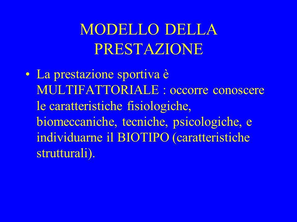 MODELLO DELLA PRESTAZIONE La prestazione sportiva è MULTIFATTORIALE : occorre conoscere le caratteristiche fisiologiche, biomeccaniche, tecniche, psic