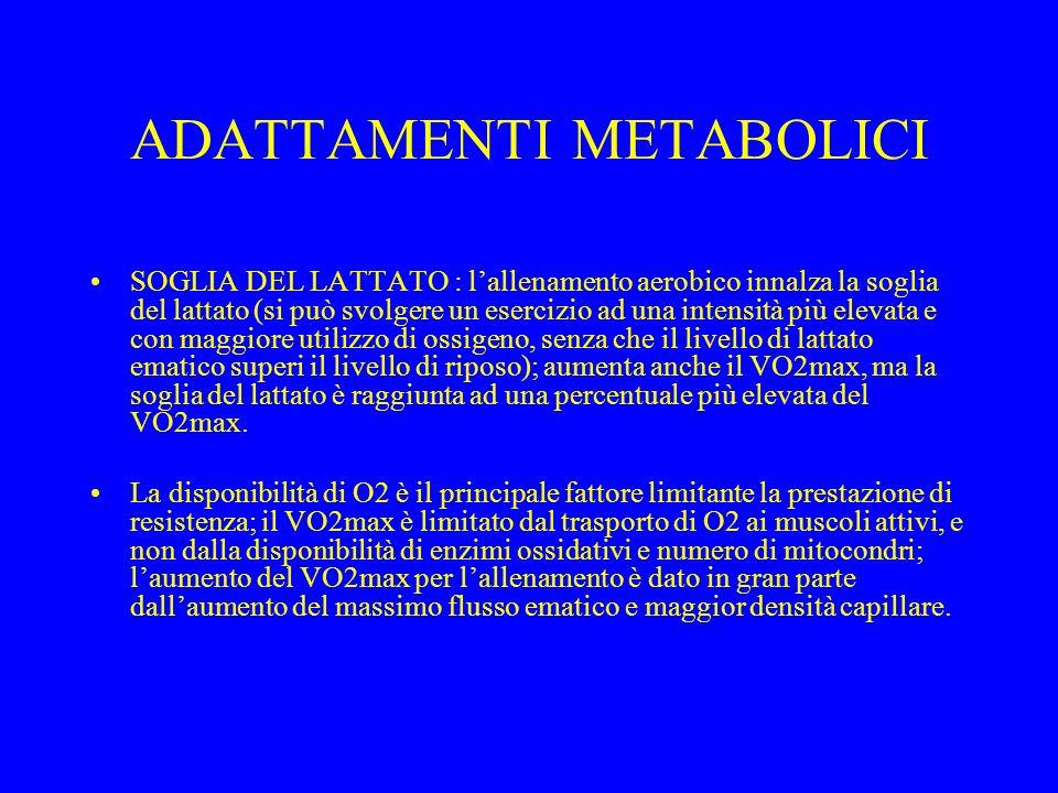 ADATTAMENTI METABOLICI SOGLIA DEL LATTATO : lallenamento aerobico innalza la soglia del lattato (si può svolgere un esercizio ad una intensità più ele
