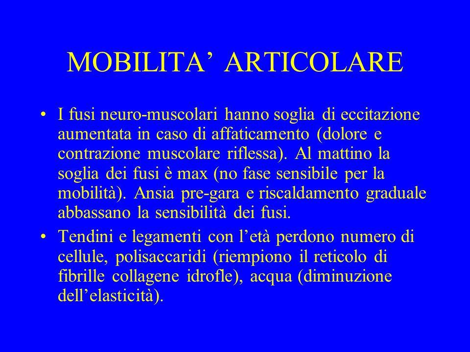 MOBILITA ARTICOLARE I fusi neuro-muscolari hanno soglia di eccitazione aumentata in caso di affaticamento (dolore e contrazione muscolare riflessa). A
