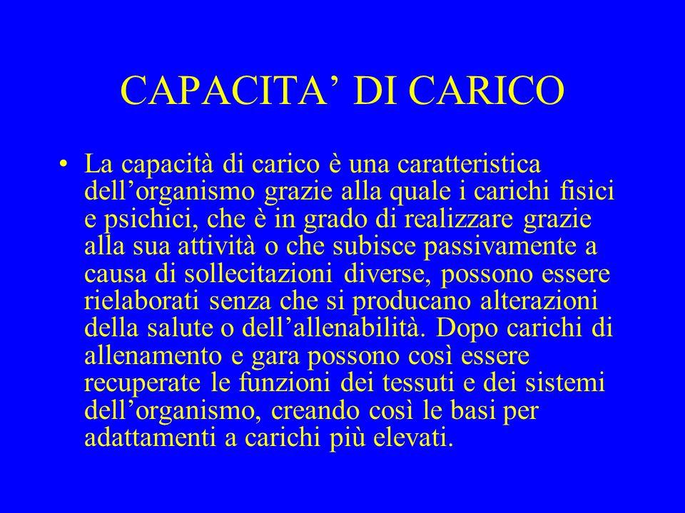 CAPACITA DI CARICO La capacità di carico è una caratteristica dellorganismo grazie alla quale i carichi fisici e psichici, che è in grado di realizzar