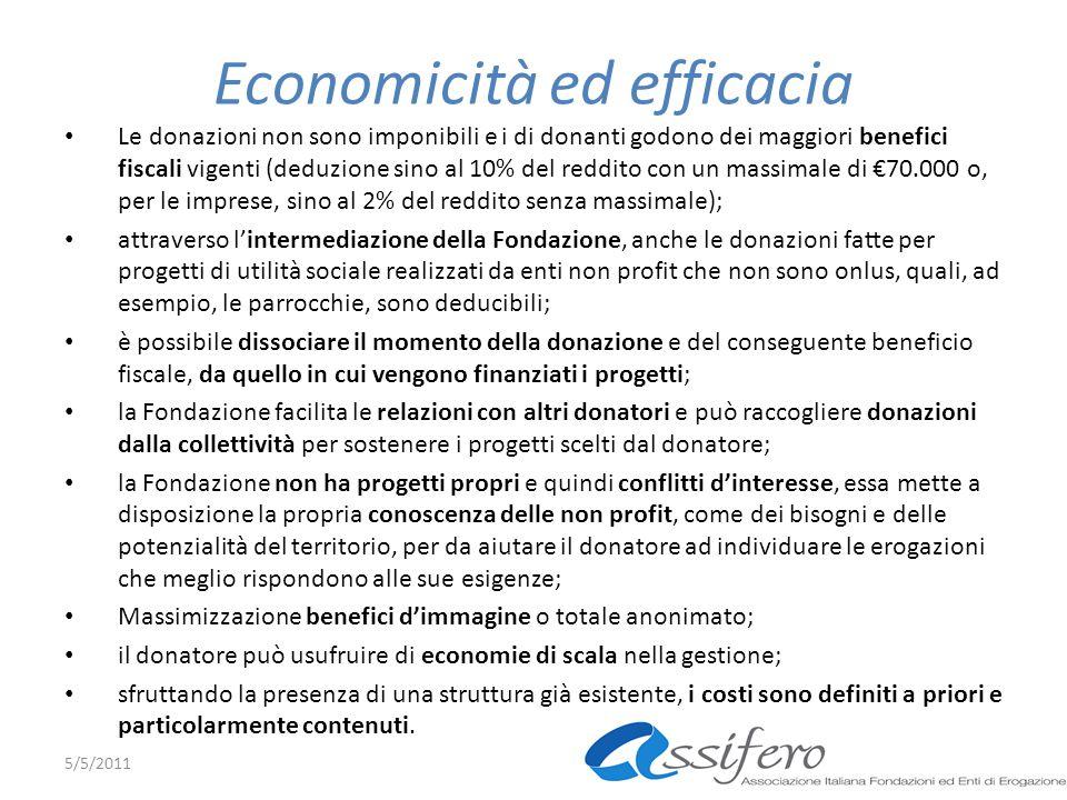 Economicità ed efficacia Le donazioni non sono imponibili e i di donanti godono dei maggiori benefici fiscali vigenti (deduzione sino al 10% del reddi