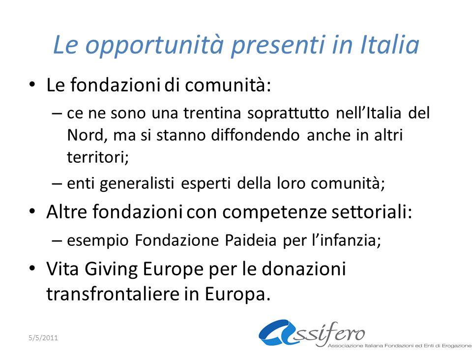 Le opportunità presenti in Italia Le fondazioni di comunità: – ce ne sono una trentina soprattutto nellItalia del Nord, ma si stanno diffondendo anche