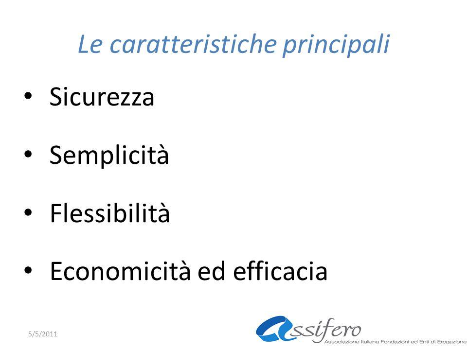 Le caratteristiche principali Sicurezza Semplicità Flessibilità Economicità ed efficacia 5/5/2011