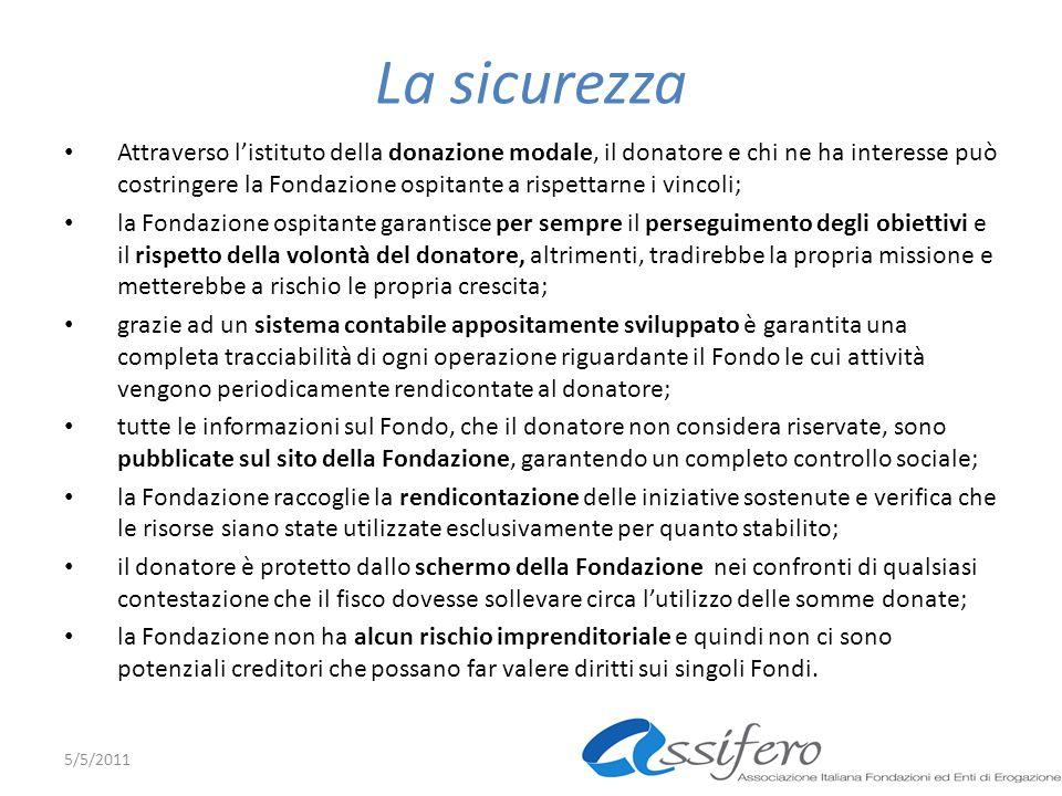 La sicurezza Attraverso listituto della donazione modale, il donatore e chi ne ha interesse può costringere la Fondazione ospitante a rispettarne i vi