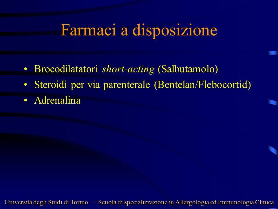 Farmaci a disposizione Brocodilatatori short-acting (Salbutamolo) Steroidi per via parenterale (Bentelan/Flebocortid) Adrenalina Università degli Stud