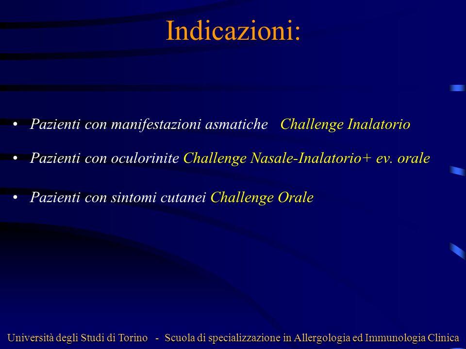 Indicazioni: Pazienti con manifestazioni asmatiche Challenge Inalatorio Pazienti con oculorinite Challenge Nasale-Inalatorio+ ev. orale Pazienti con s