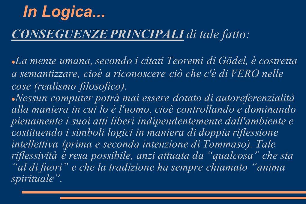 In Logica... CONSEGUENZE PRINCIPALI di tale fatto: La mente umana, secondo i citati Teoremi di Gödel, è costretta a semantizzare, cioè a riconoscere c
