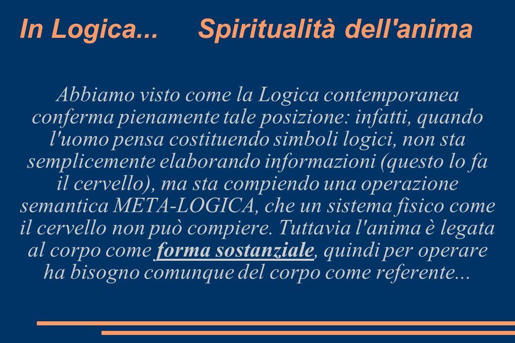 In Logica... Spiritualità dell'anima Abbiamo visto come la Logica contemporanea conferma pienamente tale posizione: infatti, quando l'uomo pensa costi