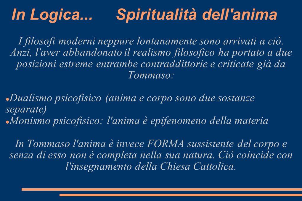 In Logica... Spiritualità dell'anima I filosofi moderni neppure lontanamente sono arrivati a ciò. Anzi, l'aver abbandonato il realismo filosofico ha p
