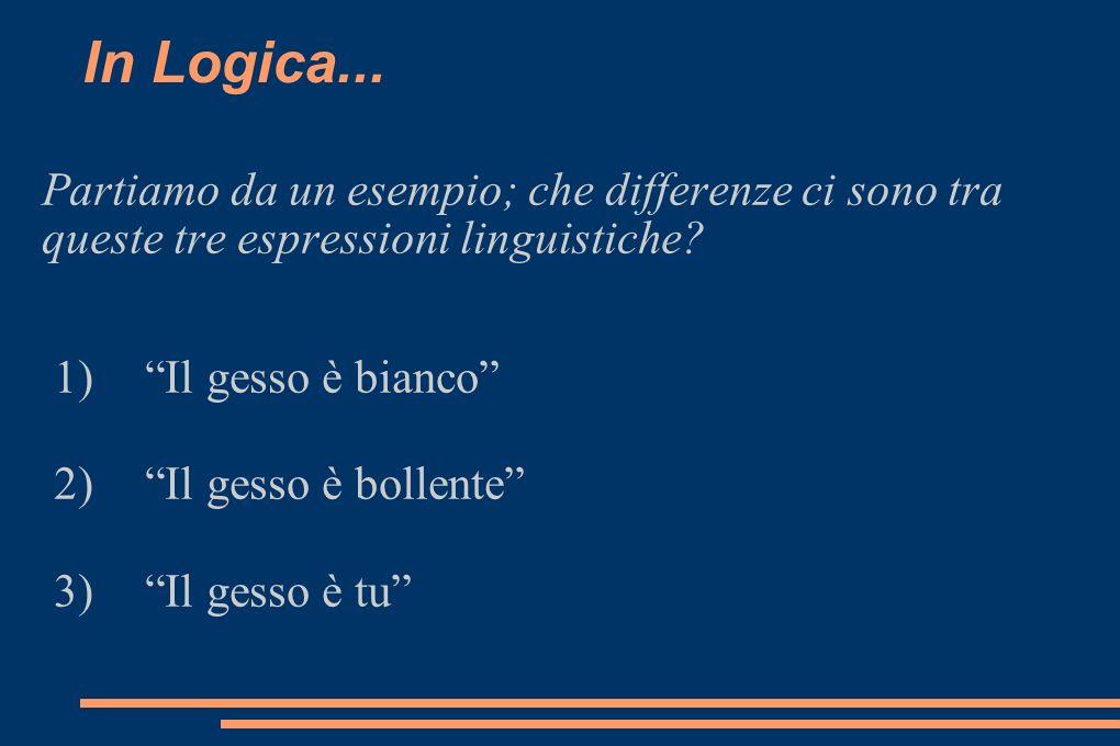 In Logica... Partiamo da un esempio; che differenze ci sono tra queste tre espressioni linguistiche? 1)Il gesso è bianco 2)Il gesso è bollente 3)Il ge