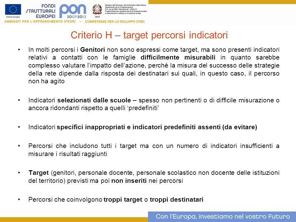 Criterio H – target percorsi indicatori In molti percorsi i Genitori non sono espressi come target, ma sono presenti indicatori relativi a contatti co
