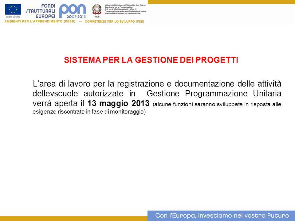 SISTEMA PER LA GESTIONE DEI PROGETTI Larea di lavoro per la registrazione e documentazione delle attività dellevscuole autorizzate in Gestione Program