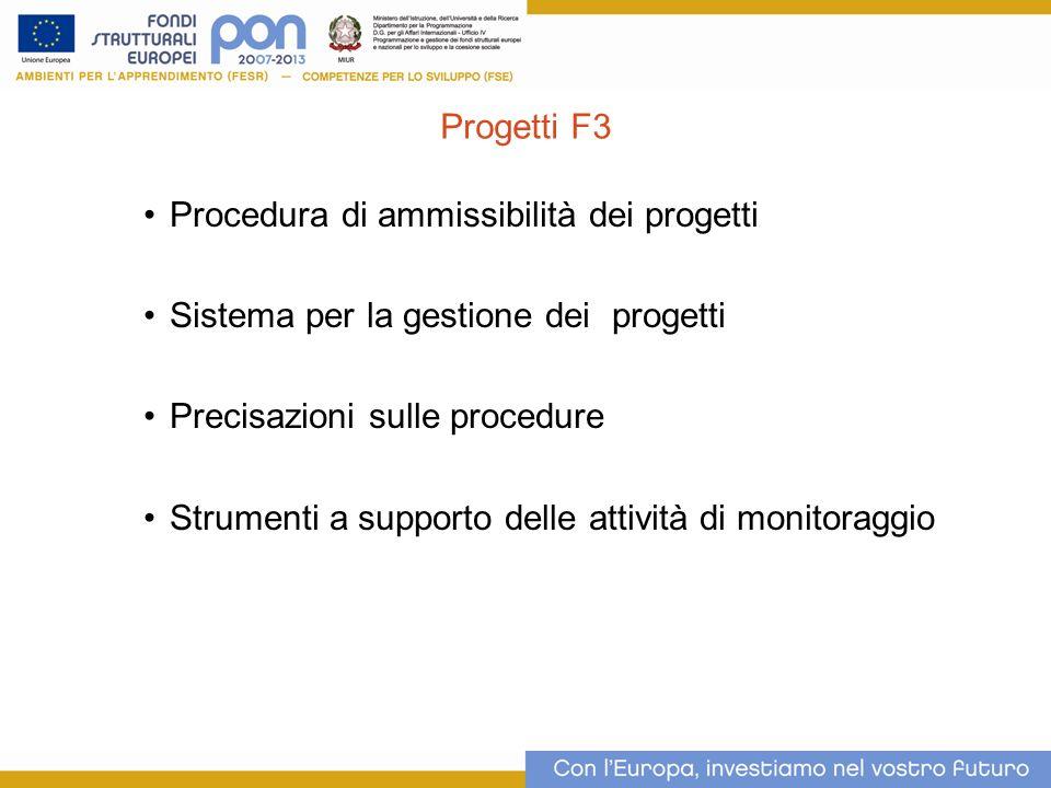 Progetti F3 Procedura di ammissibilità dei progetti Sistema per la gestione dei progetti Precisazioni sulle procedure Strumenti a supporto delle attiv