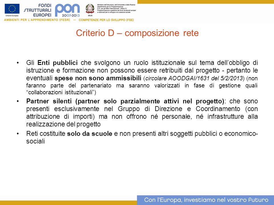 Criterio D – composizione rete Gli Enti pubblici che svolgono un ruolo istituzionale sul tema dellobbligo di istruzione e formazione non possono esser