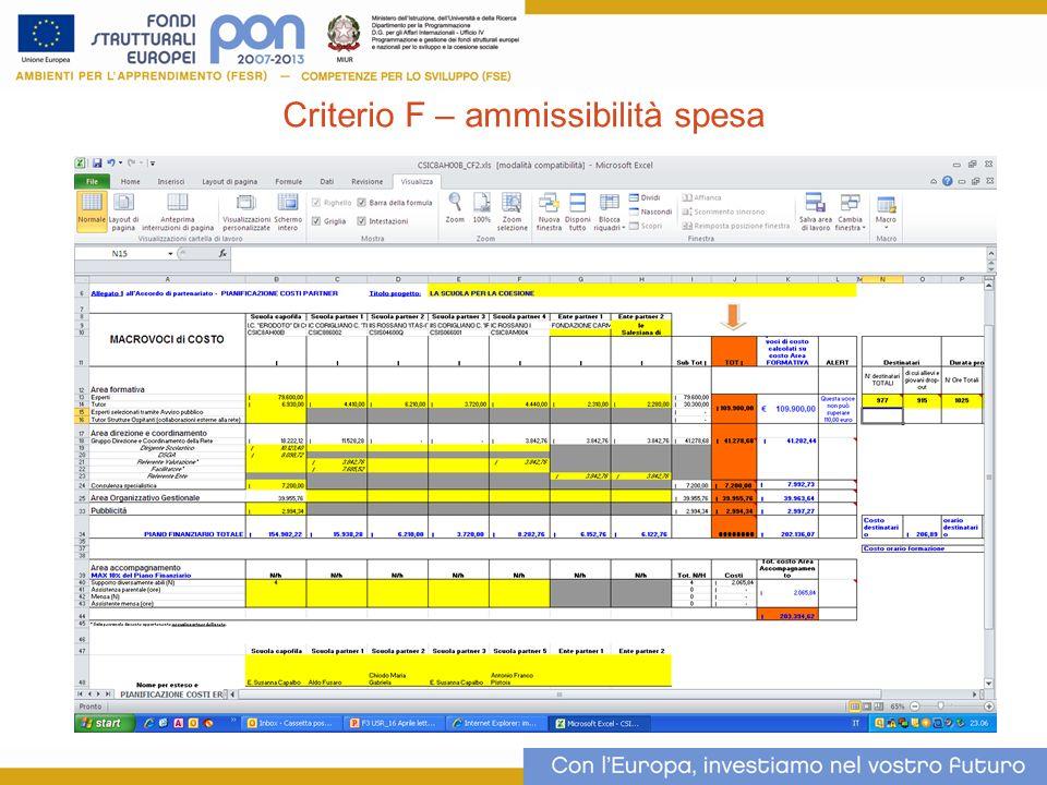 9 Criterio F – ammissibilità spesa
