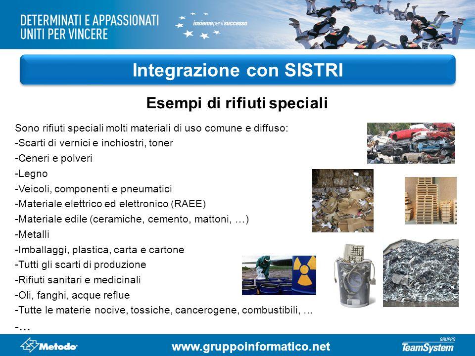 www.gruppoinformatico.net Integrazione con SISTRI Sono rifiuti speciali molti materiali di uso comune e diffuso: -Scarti di vernici e inchiostri, tone