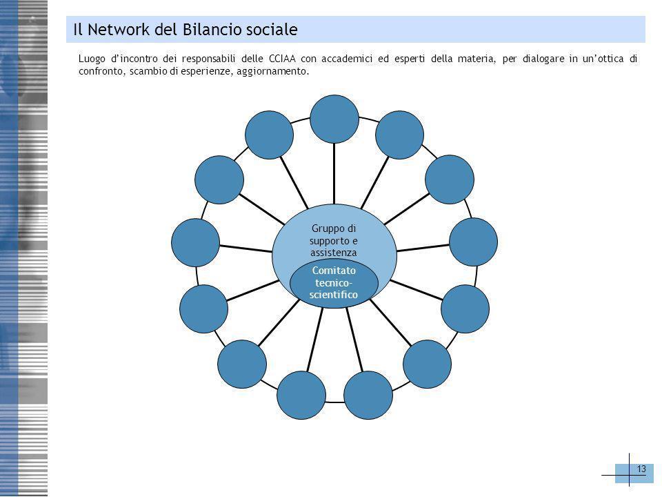 13 Gruppo di supporto e assistenza Comitato tecnico- scientifico Il Network del Bilancio sociale Luogo dincontro dei responsabili delle CCIAA con acca