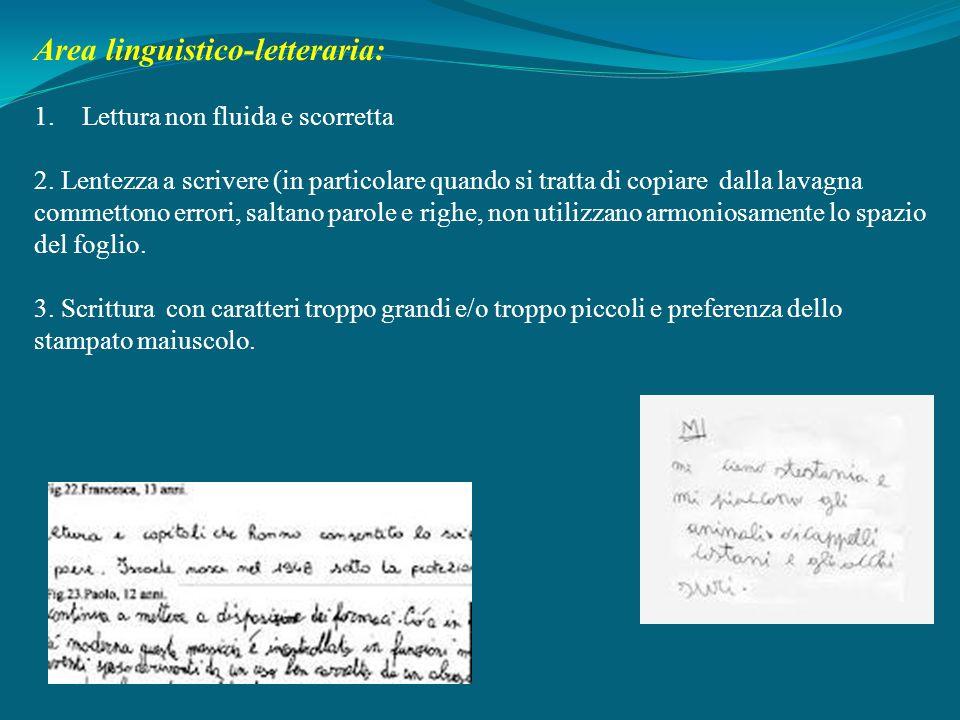 Area linguistico-letteraria: 1.Lettura non fluida e scorretta 2. Lentezza a scrivere (in particolare quando si tratta di copiare dalla lavagna commett