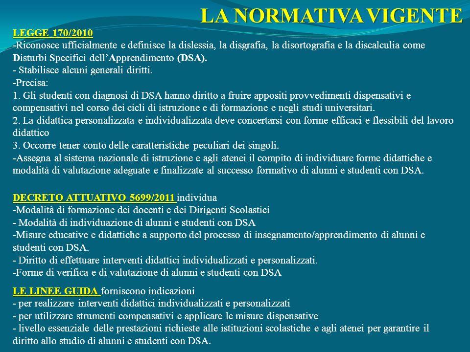 LA NORMATIVA VIGENTE LEGGE 170/2010 -Riconosce ufficialmente e definisce la dislessia, la disgrafia, la disortografia e la discalculia come Disturbi S