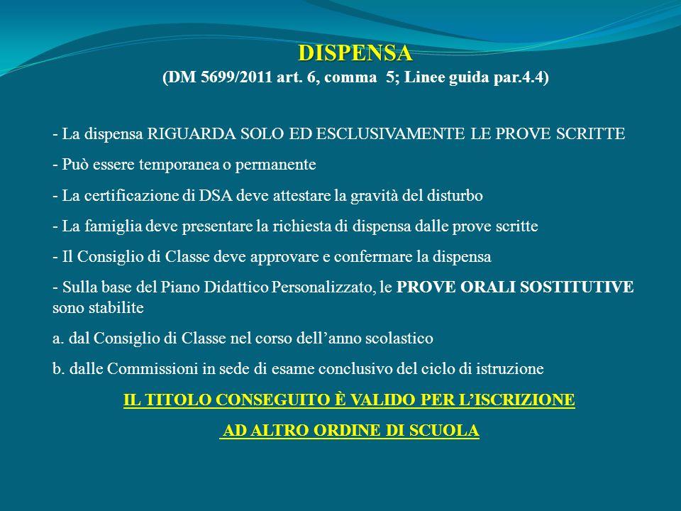 DISPENSA (DM 5699/2011 art. 6, comma 5; Linee guida par.4.4) - La dispensa RIGUARDA SOLO ED ESCLUSIVAMENTE LE PROVE SCRITTE - Può essere temporanea o