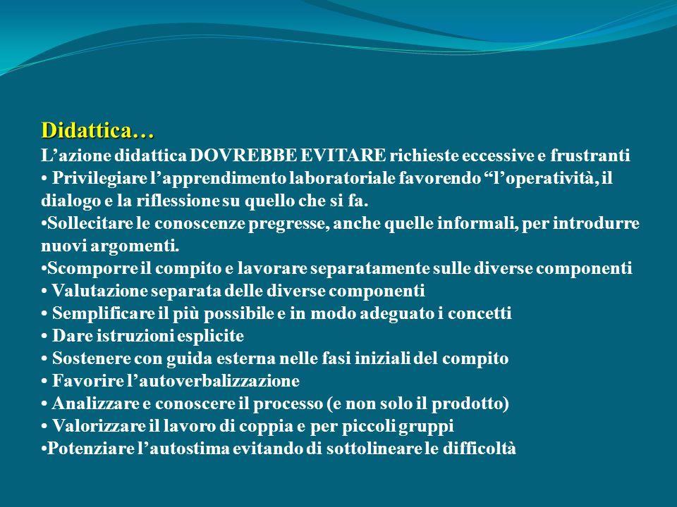 Didattica… Lazione didattica DOVREBBE EVITARE richieste eccessive e frustranti Privilegiare lapprendimento laboratoriale favorendo loperatività, il di