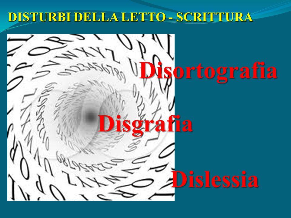 DISTURBI DELLA LETTO - SCRITTURA Dislessia Disgrafia Disortografia